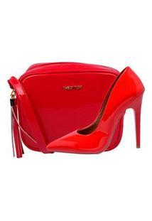Kit Bolsa + Scarpin Factor Fashion Salto Alto - Vermelho