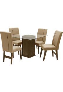 Conjunto De Mesa Para Sala De Jantar Com 4 Cadeiras Saint Louis-Dobue - Castanho / Bege