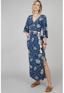 Vestido Feminino Longo Estampado Floral Com Cinto Manga 3/4 Azul Marinho