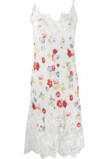 Ermanno Scervino Slip Dress Com Estampa Floral - Branco