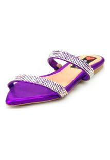 Sandalia Love Shoes Rasteira Bico Folha Strass Delicada Roxo