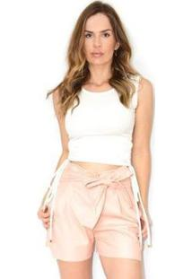 Blusa Cz Brand Canelada Ajustável Feminina - Feminino-Branco
