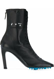 Off-White Lace-Up 105Mm Leather Ankle Boots - Preto