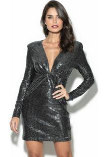 Vestido Curto Metalizado Prata