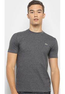Camiseta Lacoste Gola Careca Masculina - Masculino-Cinza