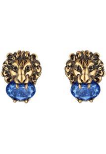 Gucci Par De Brincos Lion Head Com Aplicação - Dourado