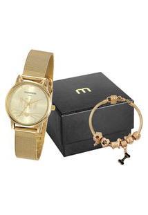 Kit De Relógio Analógico Mondaine Feminino + Pulseira - 53782Lpmvde3K3 Dourado
