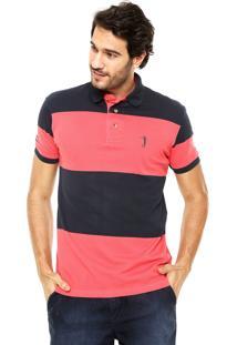 Camisa Polo Aleatory Listras Azul/Coral