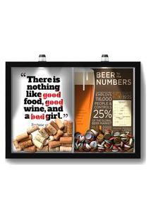 Quadro Porta Rolha Vinho E Tampinha Cerveja (2 Em 1) 33X43 Cm - Com Led Nerderia E Lojaria Bab Girl E Beer Numbers Preto