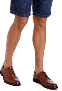 Sapato Dudalina Derby Brogue Marrom Sola Borracha Masculino (Marrom Medio, 43)