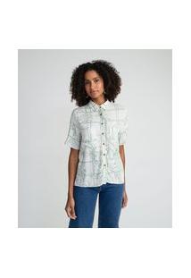 Camisa Manga Curta Em Viscose Com Estampa Grid E Folhagem   Marfinno   Branco   Gg