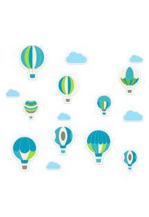 Adesivo De Parede Infantil Balões Azul E Verde