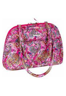 Bolsa Handbag Tecido Ombro Zíper Espaçosa Casual Rosa