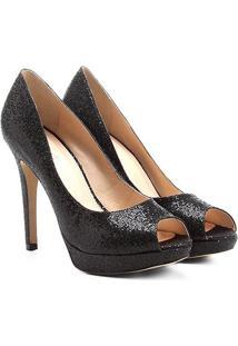Peep Toe Shoestock Meia Pata Glitter - Feminino-Preto