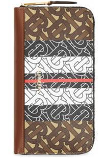 Burberry Carteira Color Block Monogramada - Marrom