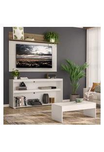 """Rack C/ Painel Tv 55"""" Com Mesa De Centro Atualle Plus Multimóveis Branco/Rustic"""
