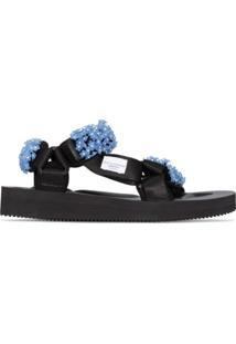 Cecilie Bahnsen Sandália X Suicoke Maria Com Aplicação Floral - Azul