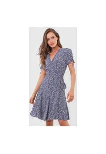 Vestido Polo Ralph Lauren Curto Floral Azul-Marinho