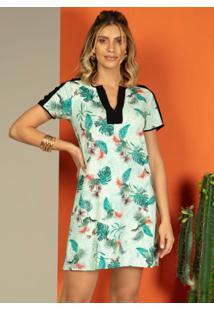 Vestido Clássico Floral Verde Com Recortes