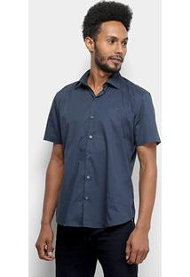 Camisa Manga Curta Ellus Tricoline Masculina - Masculino-Azul Claro