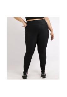 Calça Legging Feminina Plus Size Esportiva Ace Texturizada Cintura Alta Preta