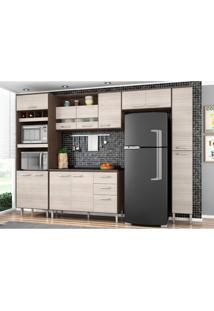 Cozinha Modulada 06 Módulos Bruna Capuccino/Amêndoa - Poquema