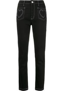 Love Moschino Calça Jeans Cintura Alta Com Bordado De Coração - Preto