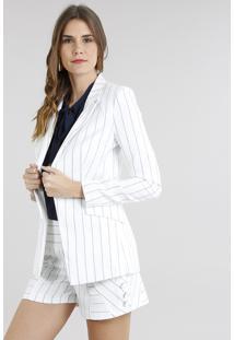 Blazer Feminino Alongado Listrado Branco
