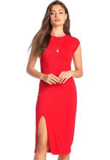 Vestido Vermelho Mídi Canelado