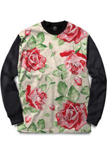 Blusa Bsc Red Roses Full Print - Masculino-Preto
