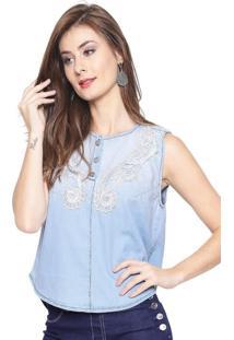 Regata Estilo Boutique Jeans Guipir Azul
