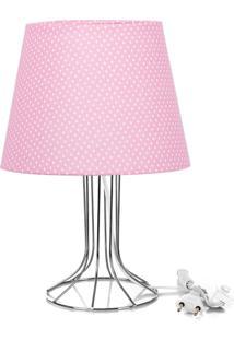 Abajur Torre Dome Rosa/Bolinha Com Aramado Cromado - Rosa - Dafiti