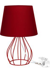Abajur Cebola Dome Vermelho Com Aramado Vermelho - Vermelho - Dafiti