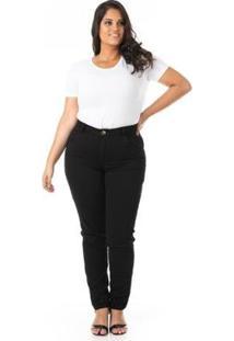 Calça Jeans Cigarrete Tradicional Plus Size Confidencial Extra Feminina - Feminino-Preto