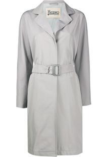 Herno Trench Coat Com Cinto - Cinza