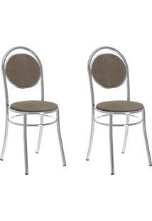 Kit 2 Cadeiras 190 Camurça Conhaque/Cromado - Carraro Móveis