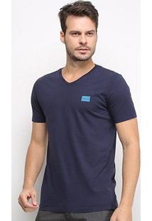 Camiseta Calvin Klein Gola V Masculina - Masculino-Marinho