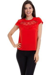 Blusa Crepe Renda E Tule No Decote Feminina - Feminino-Vermelho