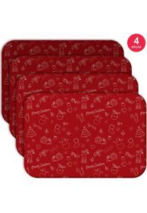 Jogo Americano Love Decor Wevans Elementos Natalinos Vermelhos Kit Com 4 Pçs - Kanui