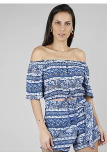Blusa Feminina Cropped Estampada Floral Ombro A Ombro Com Tassel Azul Escuro