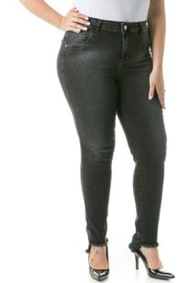 Calça Confidencial Extra Plus Size Jeans Com Barra Assimétrica Feminina - Feminino-Preto