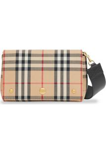 Burberry Vintage Check And Leather Note Crossbody Bag - Amarelo