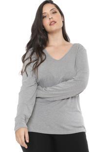 Blusa Cativa Plus Lisa Cinza