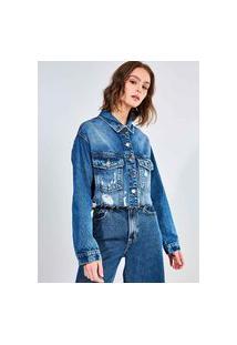 Jaqueta Jeans Cropped Com Puídos