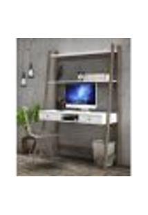 Estante Escrivaninha Com 2 Gavetas E 1 Nicho - Rústico/Branco