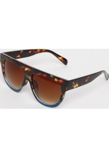 Óculos De Sol Quadrado - Marrom & Azulcavalera