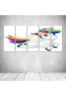 Quadro Decorativo - Unicornio - Composto De 5 Quadros - Multicolorido - Dafiti