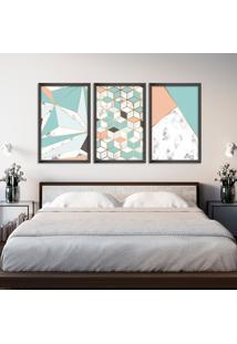 Quadro 60X120Cm Abstrato Escandinavo Coloridos Geométrico Triangulos Moldura Preta Sem Vidro - Mod: Oh5707