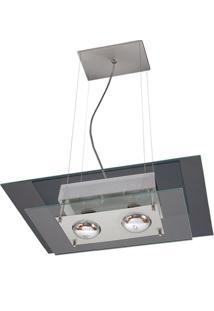 Pendente Saturno Aluminio E Vidro Lmr 140 Escovado Transparente Bivolt