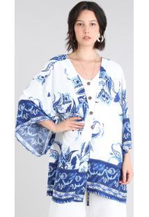 26e31ff38 ... Kimono Feminino Estampado Floral Off White - Único